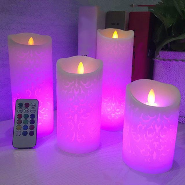 Bailando llama de vela LED con Control remoto RGB cera Pilar vela de Navidad de la boda decoración de la habitación de luz de la noche