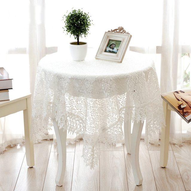 Rosa orgullosa de encaje blanco de tela de mesa decoración de la boda de translúcido de la cubierta de la Mesa mantel bordado de la Mesa de té de Casa decoración de la Mesa