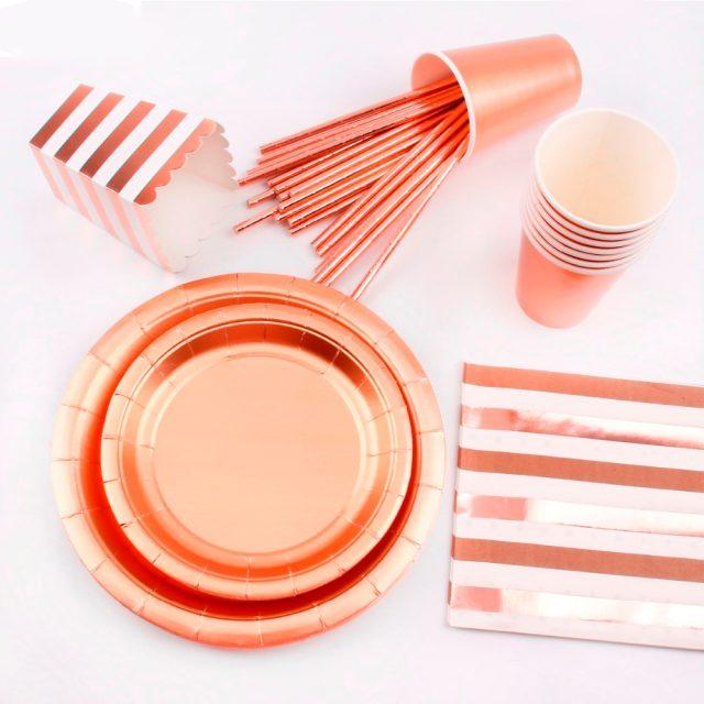 FENGRISE de oro rosa vajilla desechable conjuntos fiesta con champán taza placa vajilla de fiesta boda decoración de la fiesta de cumpleaños suministros