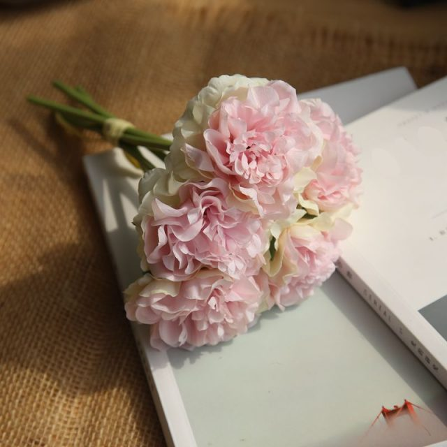 Flores artificiales peonía ramo para la decoración de la boda 5 cabezas peonías flores falsas decoración del hogar hortensias de seda flores baratas