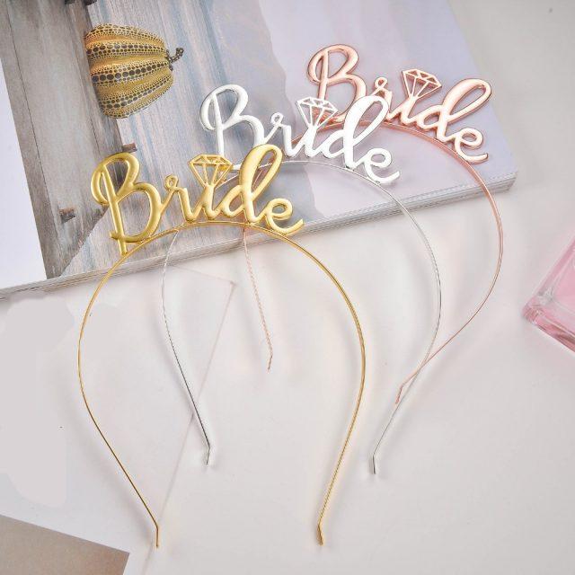 Accesorios para el pelo de la boda de oro de novia dama de honor Set nupcial ducha partido De gallina de diamantes de imitación Tiara corona fiesta de despedida de soltera Favor
