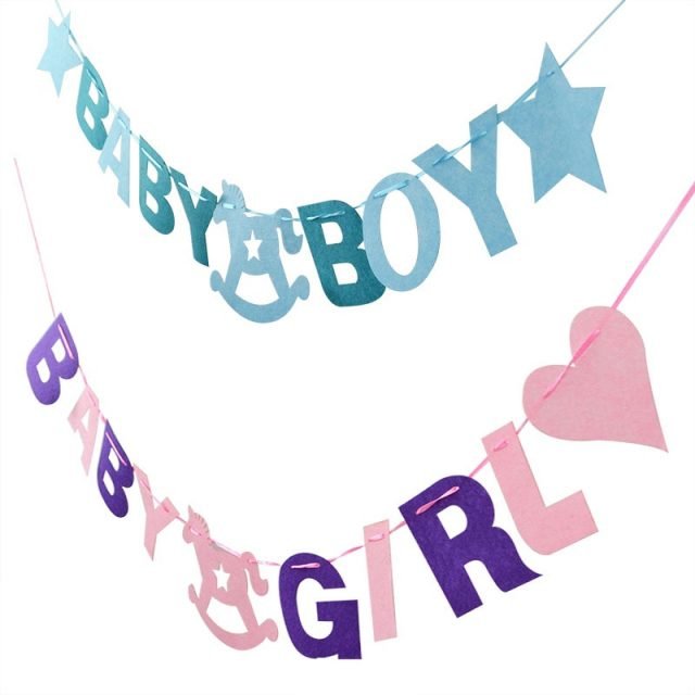 1 Set tela no tejida bebé chico/chica feliz fiesta de cumpleaños guirnalda de bebé ducha fiesta chico niños decoración suministros