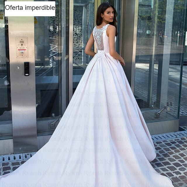 elegante vestido novia temporada 2019Elegant Satin Wedding Dress A Line Sleeveless Boho Wedding Dresses 2019 Illusion Back Scoop Neck Bridal Gown