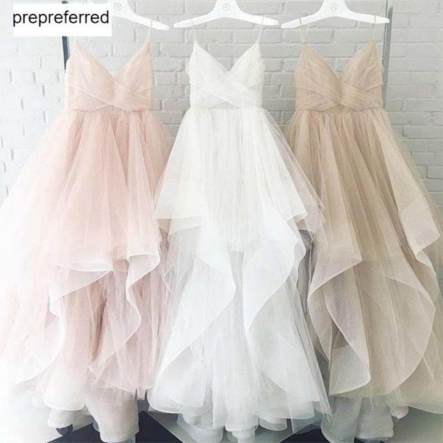 Romantic White Front Floor-Length Wedding Dress 2019 Bridal Dresses Straps Tulle Zipper Back with 30cm tail Vestido De Noiva (Copia)
