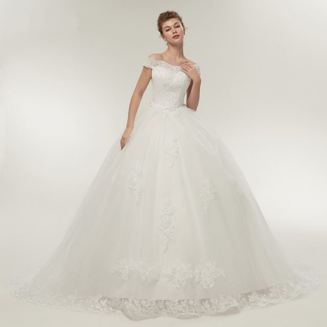 Fansmile envío gratis blanco Vintage largo tren Vestidos de novia 2019 Vestidos de Noivas Plus tamaño Bling Vestidos de novia FSM-121T
