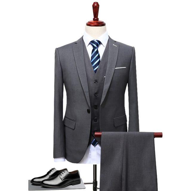 TIAN QIONG 2017 trajes de marca famosa para hombre boda novio talla grande 4XL 3 unidades (chaqueta + chaleco + pantalón) traje de esmoquin Casual ajustado para hombre