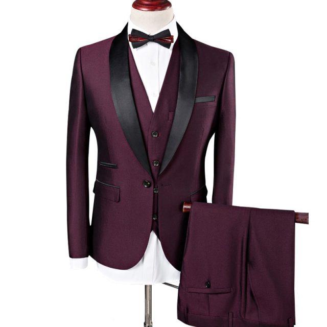 Plyesxale de traje de los hombres 2018 trajes de boda para hombres chal Collar de 3 unidades de corte Slim Burdeos traje hombre azul chaqueta de esmoquin Q83
