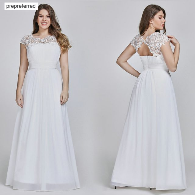 Vestido De Novia Talla Grande Gasa Plisada Con Apliques De Encaje