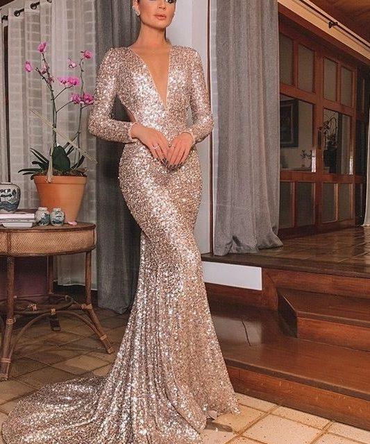 Elegante Vestido largo De fiesta De noche De lentejuelas De oro rosa Vestido De fiesta Vestido largo vestidos con manga Formal Vestido De fiesta Vestido reflectante